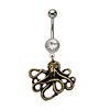 Surgical Steel Clear CZ Gem Dangle Octopus Belly Button Ring Dangle Navel Ring