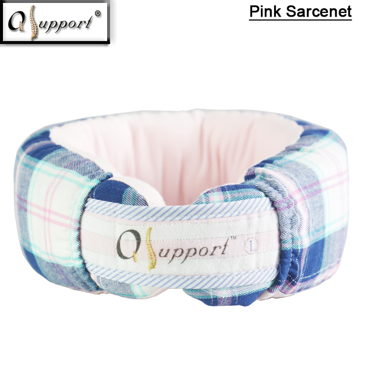 Qsupport Blue Check-<strong>G</strong> Cover Neck Pain Relief Neck Pillow with Aions and Far Infrared for Office Worker A03