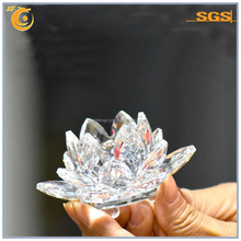 glass crystal showpiece with lotus flowers