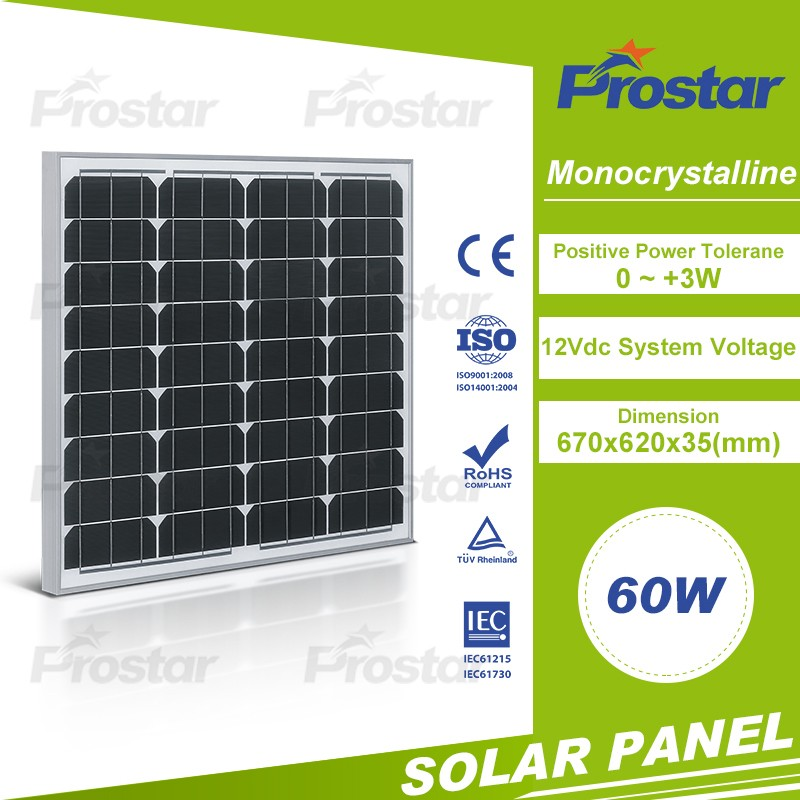 60W photovoltaic solar pv module cell manufactures mono