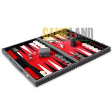 Traveling Backgammon Set In Faux Leather Traveling Case-Rouge