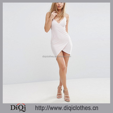 Newest Garment Direct Factory Wholesale Ladies Dresses Club Cami Straps Asymmetric Wrap Bodycon Sexy Dress Fashion