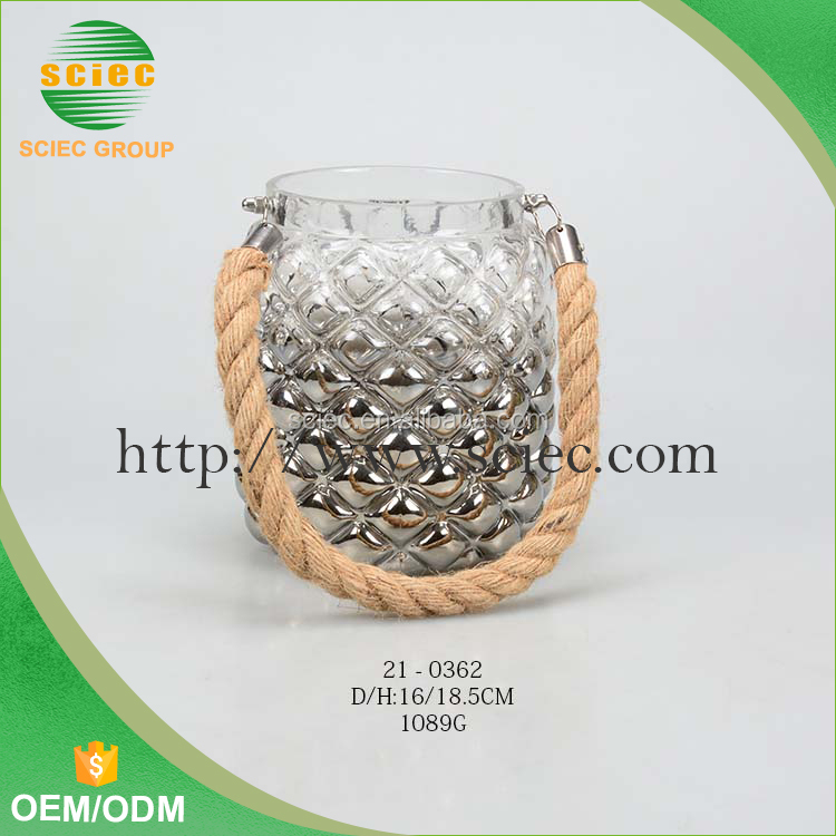 high quality glass candle holders with rope handle