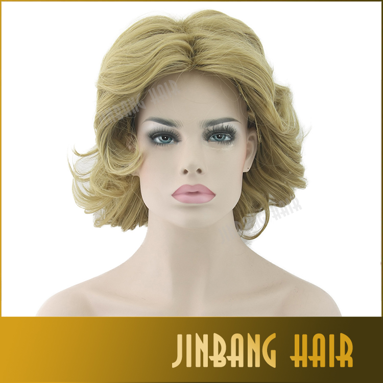Modern lady's wigs blonde short curly synthetic wigs heat resistant fiber wig