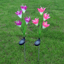 Waterproof Outdoor Solar Garden Stake lights ,4 Lily Flower Solar Powered Garden Night Lights with Multi Color for Garden,Patio