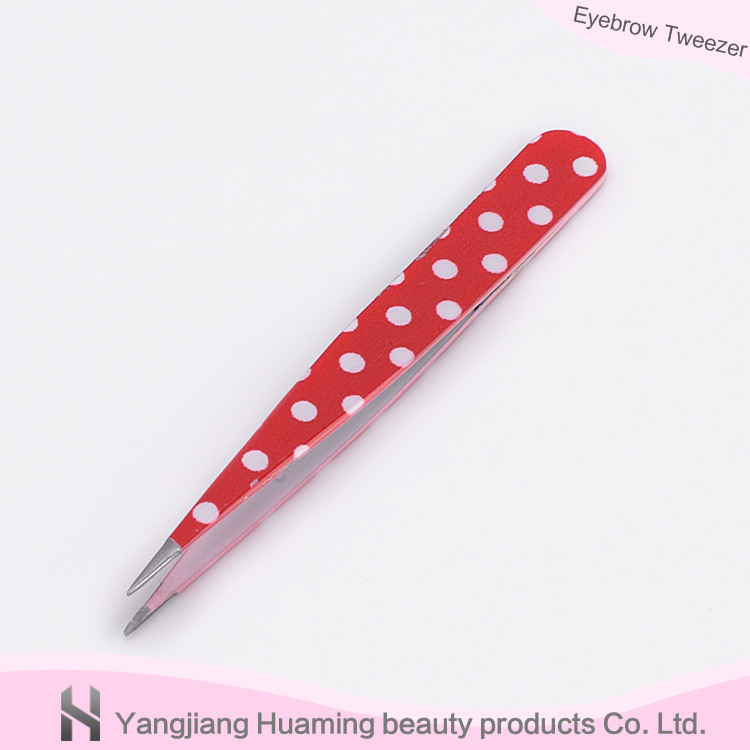 Red Dot Printed Eyebrow Tweezer Point Tip Tweezer Of New Style