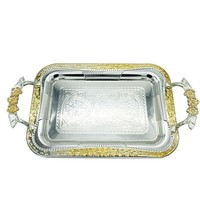 gold stainless steel rectangular tray /stainless steel square tray /stainless steel food tray plate