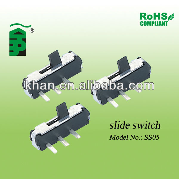 1P3T slide switch SS05 used for electronic equipment like computer, video, Audio etc.