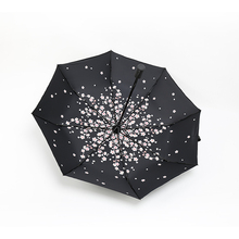 2019 new invention auto open and close waterproof 3 folding automatic umbrella with <strong>sakura</strong>