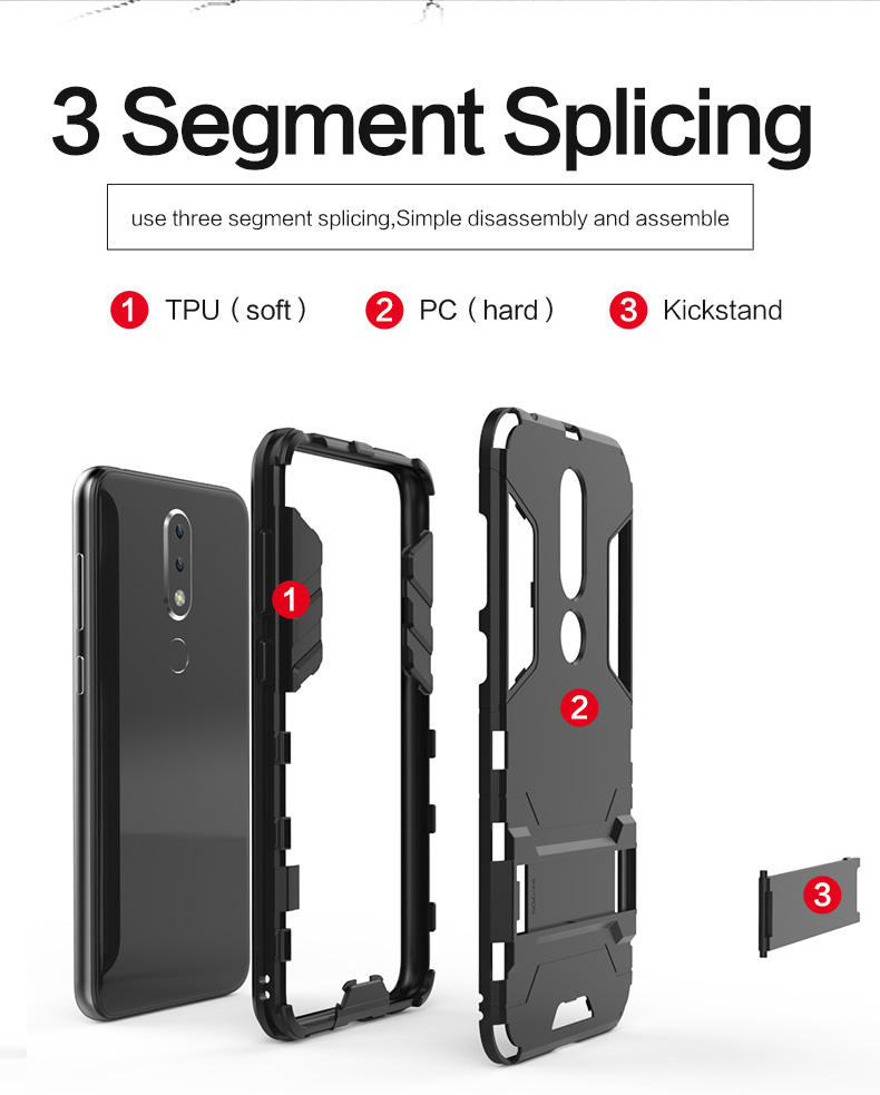 Oem Welcome tpu pc kickstand hard armor mobile phone back cover case for Nokia 6.1 Plus
