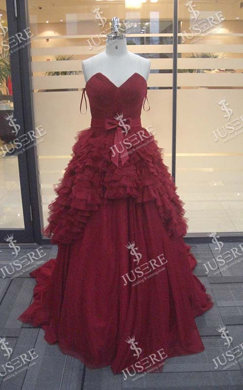 Luxurious Top Quality Red Strapless Ruffle Prom Dress