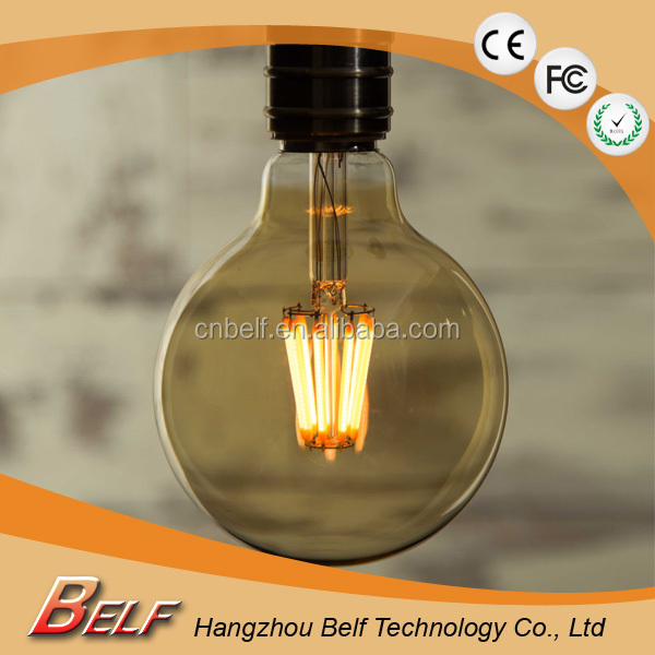 Cost - effective G95 4w 6w 8w E27 Dimmable Led Filament Global Bulb Light with Saphire Holder
