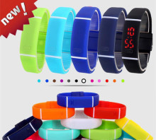 LED touch film candy color horizontal bar watch jelly watch sports bracelet wristwatch bracelet.