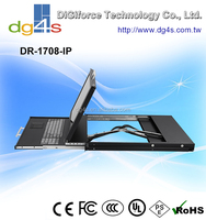 "1U 17"" LCD KVM Drawer with Dual-Rail Slides , integrated 8-port KVM switch for USB servers and IP-Module"