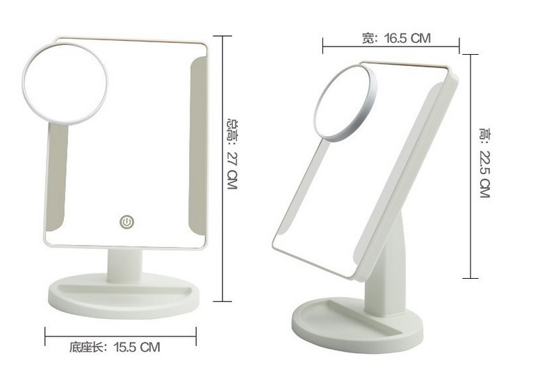 Single side desktop touch sensor led cosmetic mirror for makeup mirror