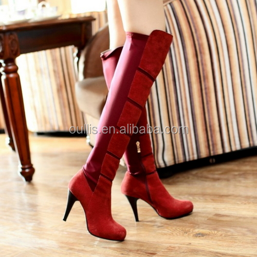 Mega March Sourcing 2017 New Spring lace-up design peep toe high heel over knee boots PY4067