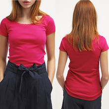 China wholesale women basic lace design cotton t shirt
