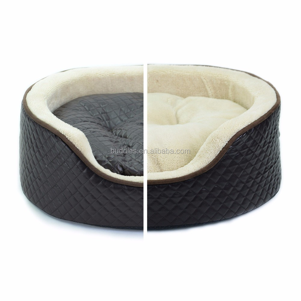 Round Leather Sponge Plush Dog Bed Sofa Pet Products
