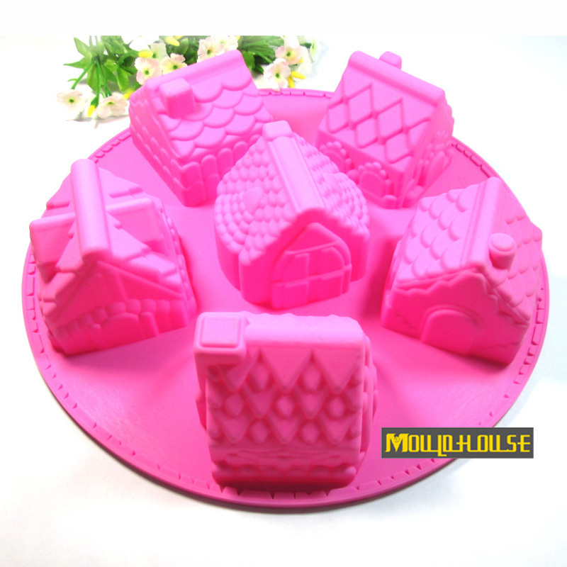 Free shipping Silicone bakeware molds 6 small house