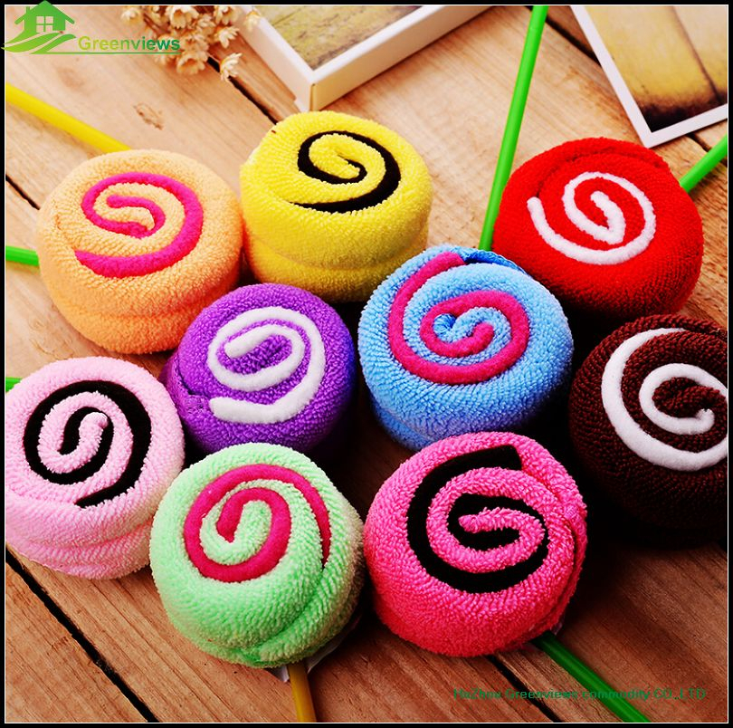 Mini Towel Washcloth with lollipop Shaped cotton lollipop for gifts factory customize microfiber lollipop cake towel GVCT2003