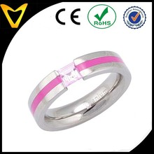 Best Price Titanium Ring, Titanium Wedding Ring,5mm Pipe Cut Grooved Titanium Band Princess Synthetic Pink Sapphire Wedding Ring