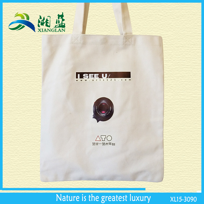 custom logo printed cotton rectangle handle tote, plain 100% recycle cotton tote bag oem