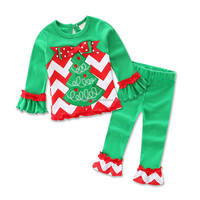 Hot sell European and America infant and toddler children girls christmas dress sets pajamas
