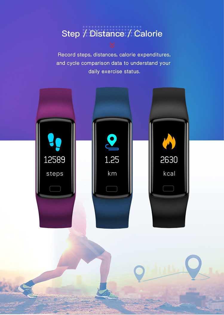 IP67 Heart Rate blood pressure Color OLED display Smart Bracelet Band Wristband Fitness Tracker Y9 BT4.0 Smart band