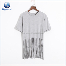 Big World factory OEM custom ,wholesale women casual blank cotton custom tshirt
