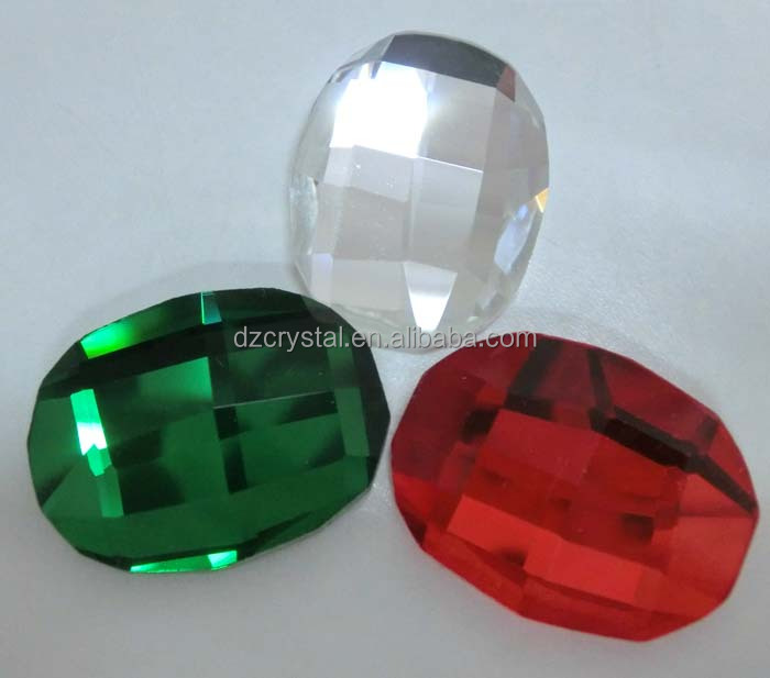oval red and emerald glass loose beads crystal stones for dress accessories