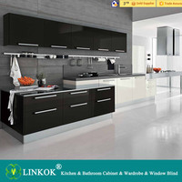 L shape simple design melamine kitchen in hawthorn color with artificial stone