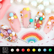Japanese popular candy color flatback half round nail art pearl for decoration