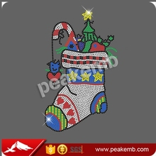 Christmas boots iron on rhinestone transfers wholesale Factory