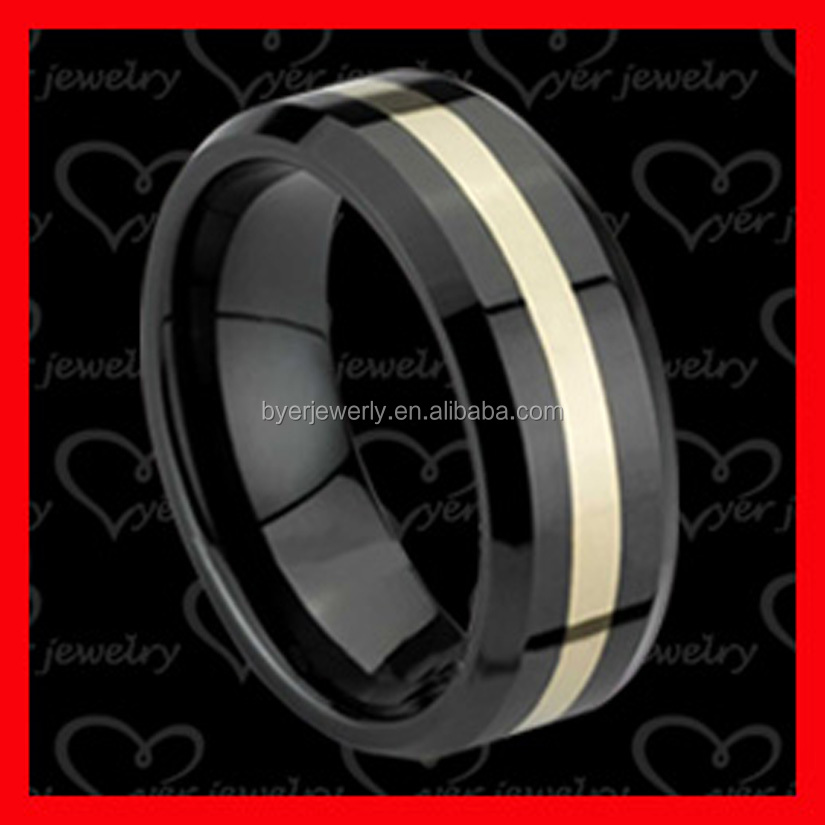 wholesale mens tungsten steel /ceramic 10 gold inlay ring jewelry