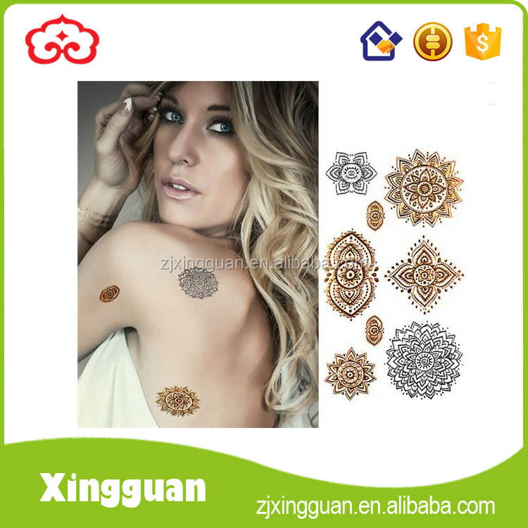 XG0072 tactical temporary tattoos metallic,silver and gold temporary tattoos,custom metallic temporary tattoos