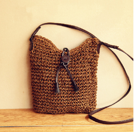 Beautiful ladies tote cheap natural paper straw beach bag sea straw clutch bag