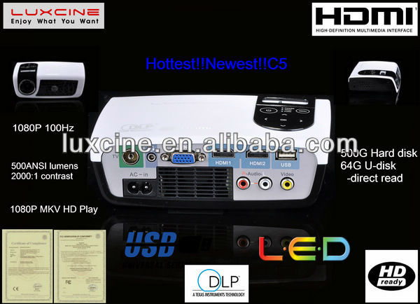 15% off Promotion!!! C5 classroom projector with USB+TV+2HDMI