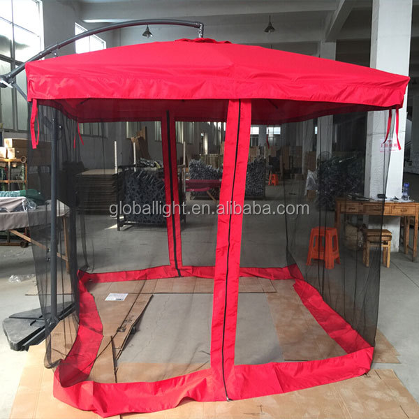 Outdoor Red Garden Green Banana Umbrella with Mosquito Net
