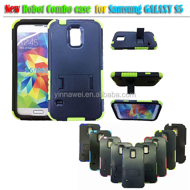 Black robots bracket shell combo case for Samsung Galaxy S5 i9600