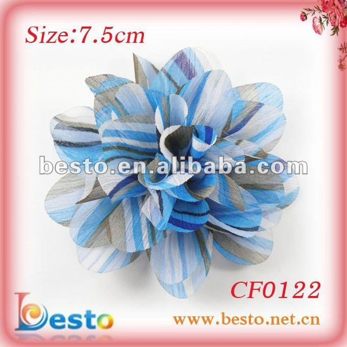 2012 new handmade flower design printed chiffon fabric
