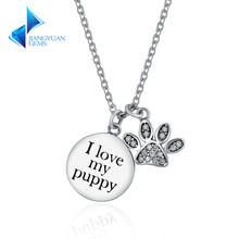 925 Sterling Silver Doggy Puppy Footprints Pendant Necklaces for Women Jewelry