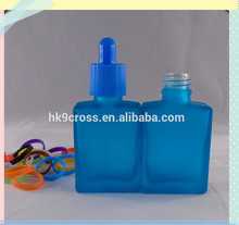 Blue perfume rectangle essential oil glass bottle with Childproof Cap and Rubber Stopper with Pipette