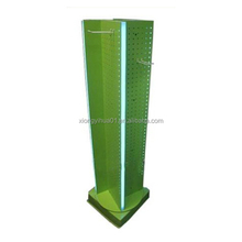 Custom retail store 4 side floor accessories swivel display stands,pegboard spinning display shelf,swivel display rack