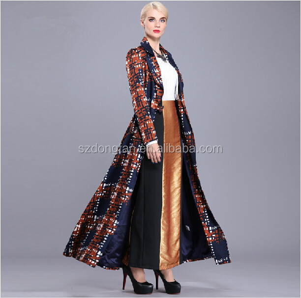 hot sale women apparel Elegant plus size full length long sleeve European American coat long coat women outwear guangzhou supply