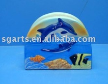 Ceramic Napkin Holder with W/Dolphin decal
