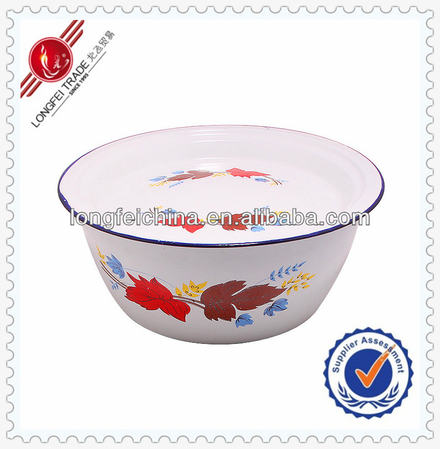 Home Decor 36cm Enamel Deep Bowl Decorative Iron Metal Bowl