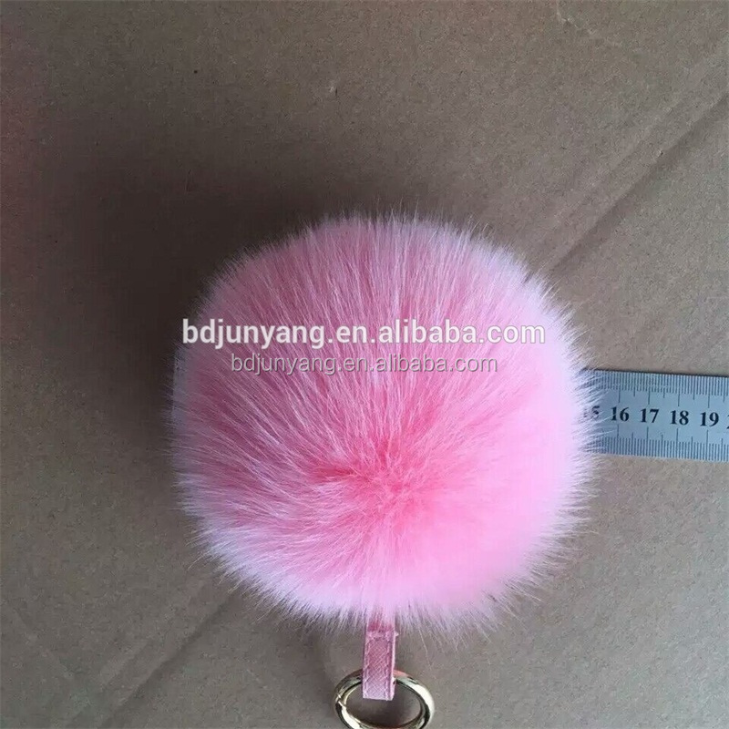 Plush real fur ball keychain mobile phone car key fox fur pom pom