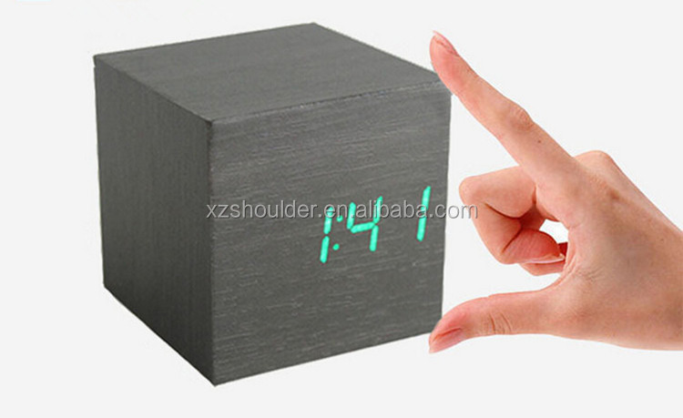 Digital Type Wood color square shape table clock led cube alarm clock