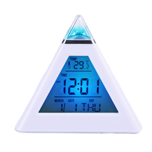 Colored LCD Pyramid Digital Temperature Thermometer Back light Weather Station Alarm Clock Desk & Table Clock