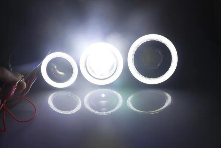 Auto car COB led angel eye fog lamp 2.5 inch 3 inch 3.5 inch 76mm 89mm COB DRL with led len